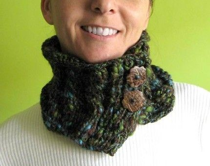 Maxima - Brown, Green and Sky Blue Mottled Scarflette
