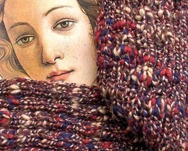 Maxima Scarf - Marbled Blue, Red, Brown and Beige