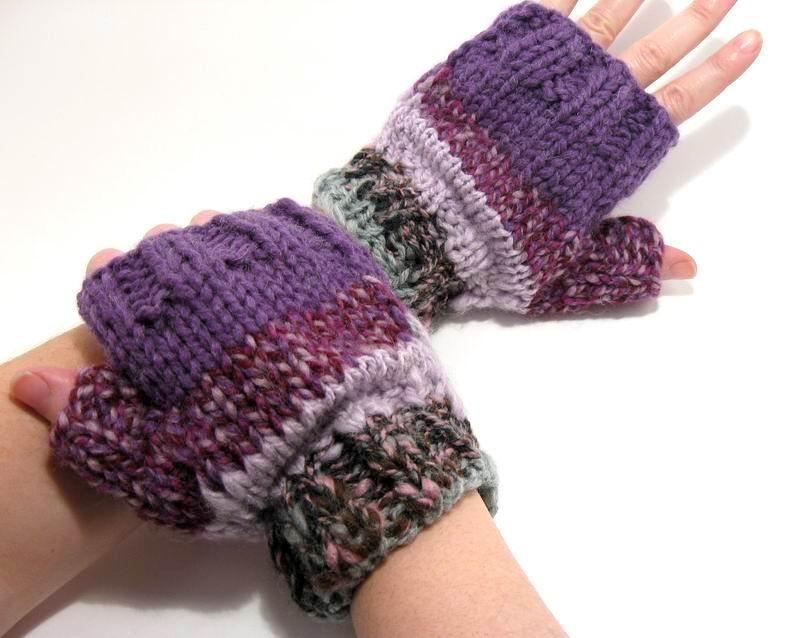 Happy Fingerless Gloves - Multicolor Novelty Yarn