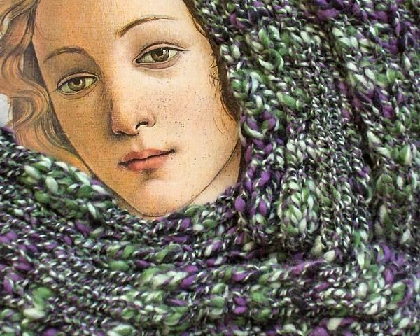 Maxima Scarf - Marbled Violet, Green, Light Green and Black