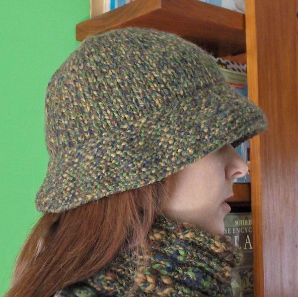 Green, Brown and Blue Mottled Hat