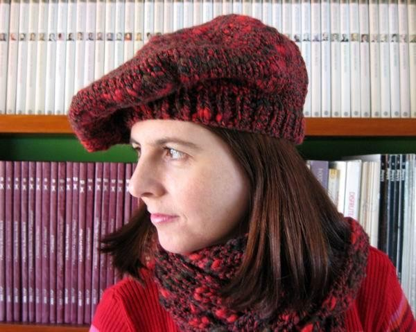Beret - Marled Red, Purple, Black and Brown