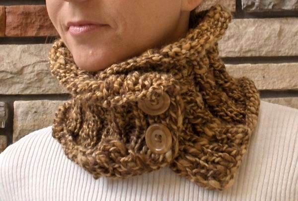 Brown and Beige Mottled Scarflette