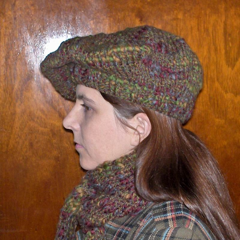 Grey, Amber, Bordeaux and Green Mottled Beret