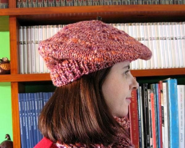 Beret - Marled Lavender, Orange and Purple