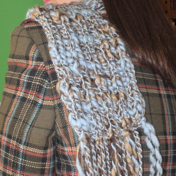 Sky Blue, Beige and Brown Scarf