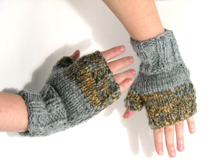 Happy Fingerless Gloves - Grey and Beige Novelty Yarn
