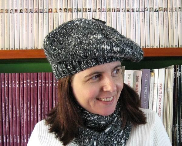 Beret - Marled Grey, Black and White