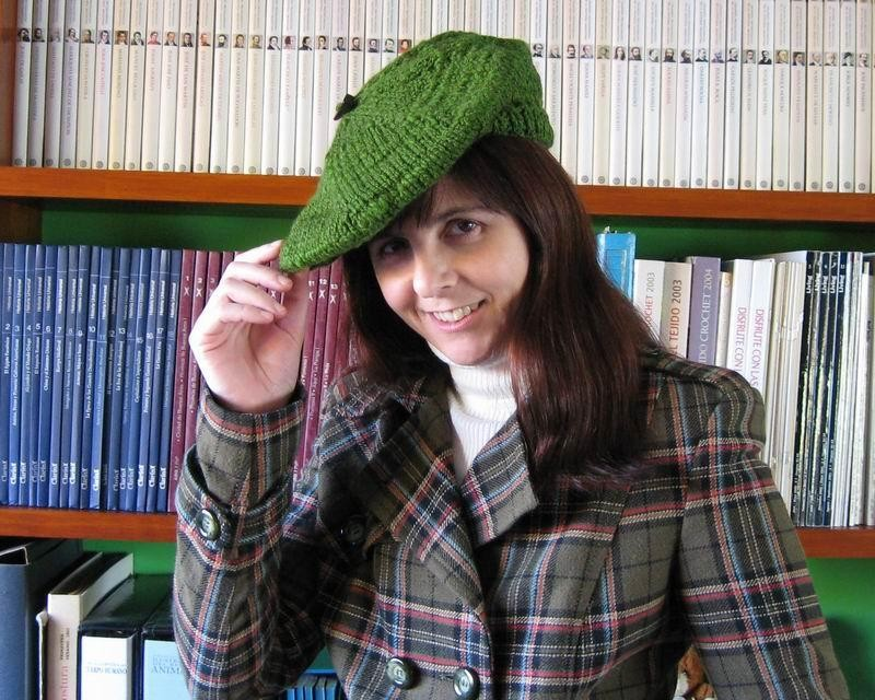 Beret - Hand Knitted with Green Novelty Yarn