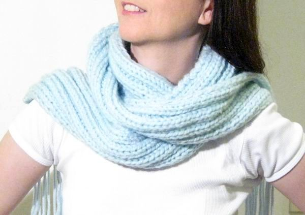 Scarf - Hand Knitted with Ice Blue Novelty Yarn