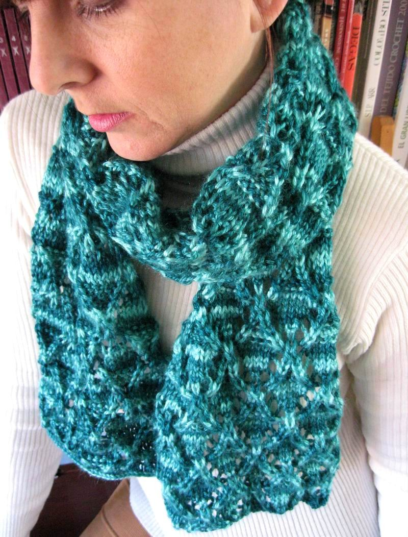 a All Seasons Scarf - Hand Knitted with Variegated Teal Shetland Wool