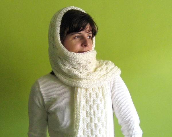 Aran Scarf - Hand Knitted with Natural White Shetland Wool