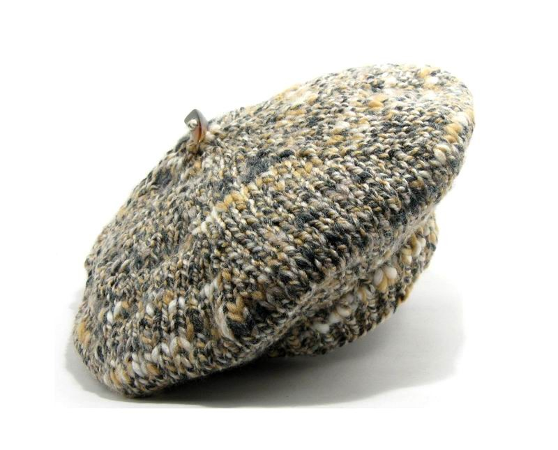 Beret - Hand Knitted with Marled Grey, Beige and Crude Novelty Yarn