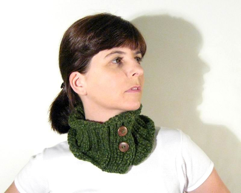 Cowl - Hand Knitted with Green Novelty Yarn