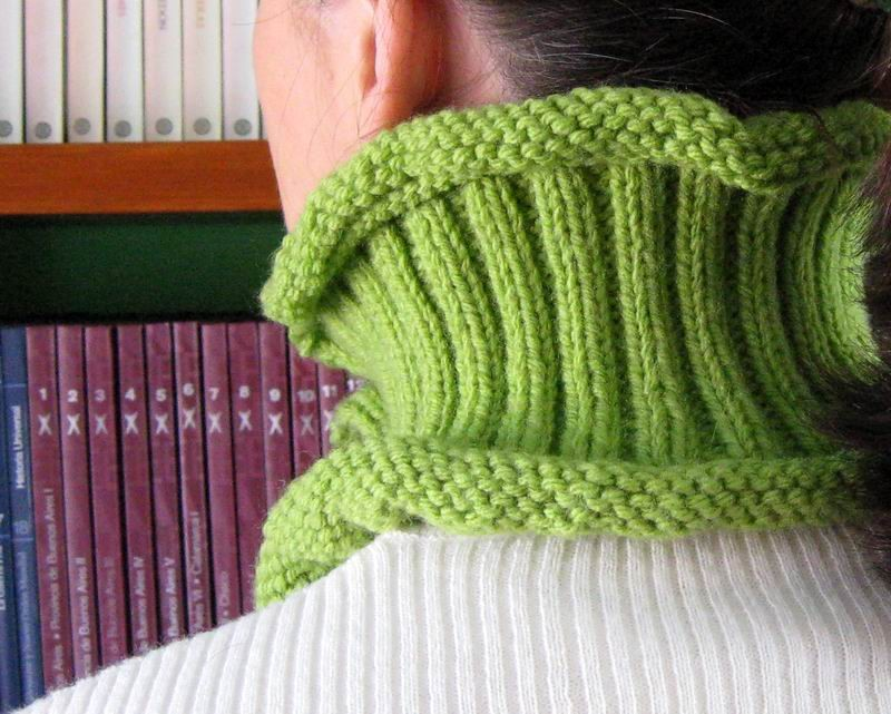 Cowl - Hand Knitted with Yellow Green Acrylic Wool