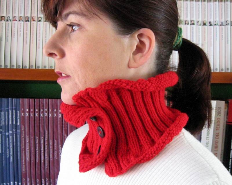 Cowl - Hand Knitted with Red Acrylic Wool