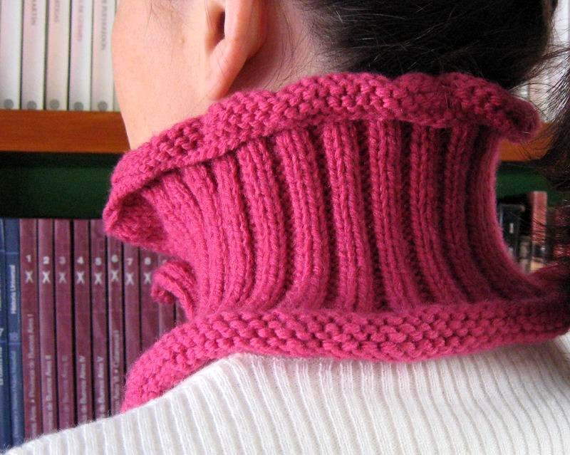 Cowl - Hand Knitted with Pink Acrylic Wool