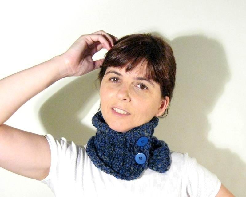 Cowl - Hand Knitted with Marled Blue, Black and Gray Novelty Yarn