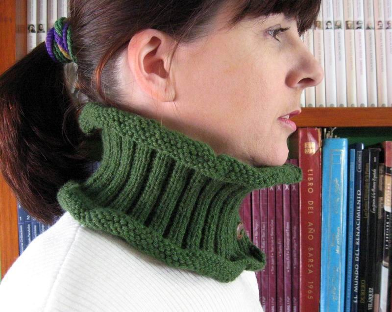 Cowl - Hand Knitted with Olive Green Acrylic Wool