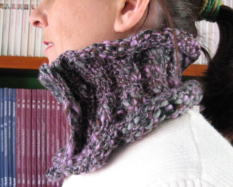 Cowl - Hand Knitted with Marled Lavender, Gray and Black Novelty Yarn
