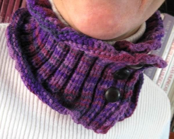 Cowl - Hand Knitted with Variegated Purple Acrylic Wool