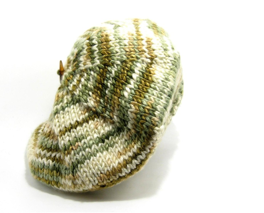Tam - Hand Knitted with Variegated Cream, Beige and Green Shetland Wool