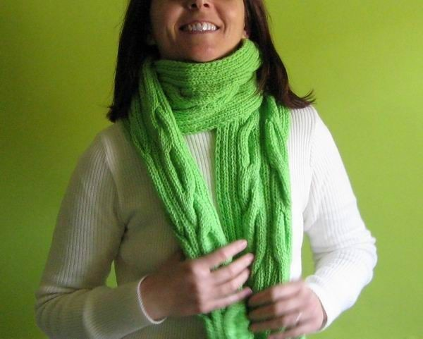 Aran Scarf - Hand Knitted with Lime Fine Acrylic Wool