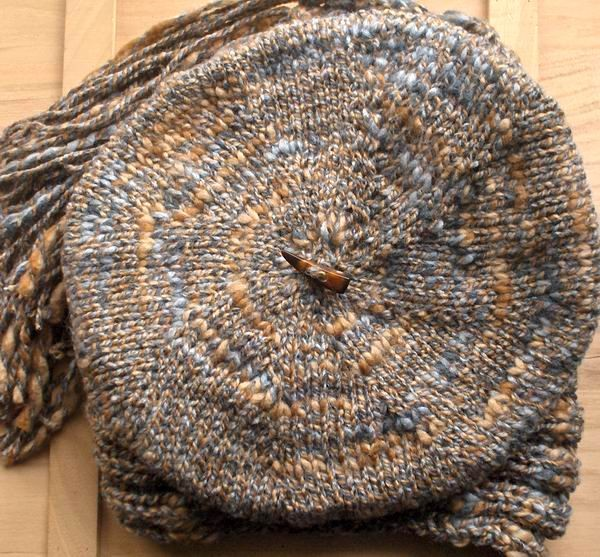 Tam - Hand Knitted with Marled Grey and Beige Novelty Yarn