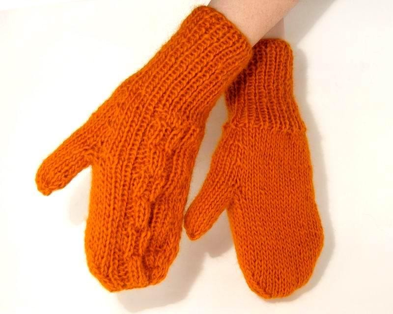 Mittens - Hand Knitted with Persimmon Merino Wool