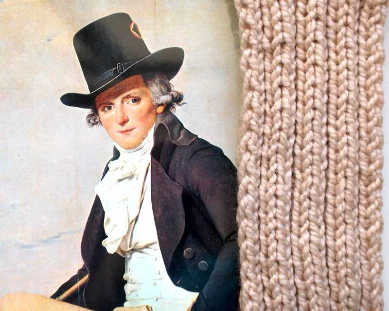 Scarf - Hand Knitted with Beige Novelty Yarn