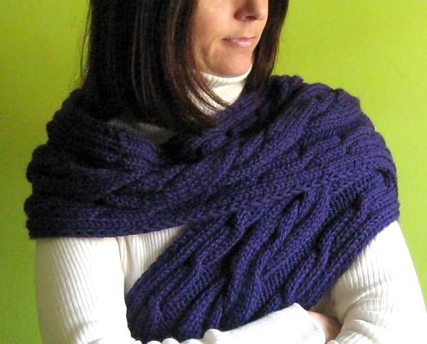Aran Scarf - Hand Knitted with Persian Indigo Merino Wool