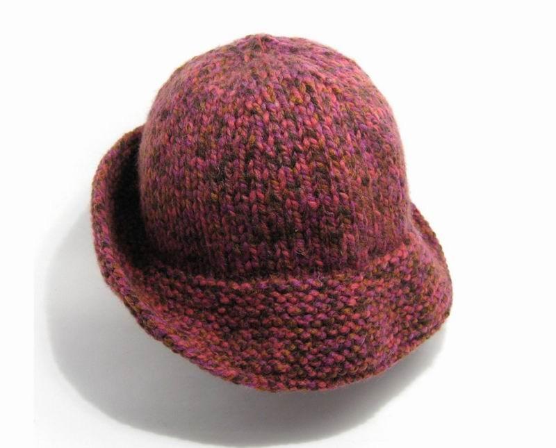 Cloche Hat - Marled Magenta, Pink, Beige and Brown