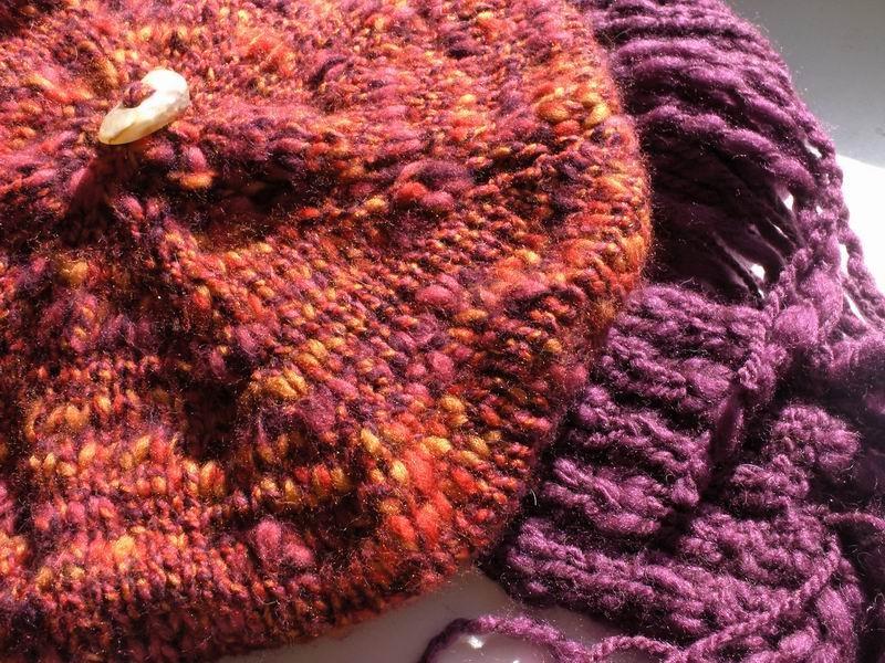 Beret - Marled Red, Purple and Orange