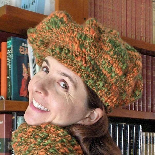 Beret - Tweed Green and Orange
