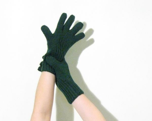 Gloves - Hand Knitted with Green Merino Wool