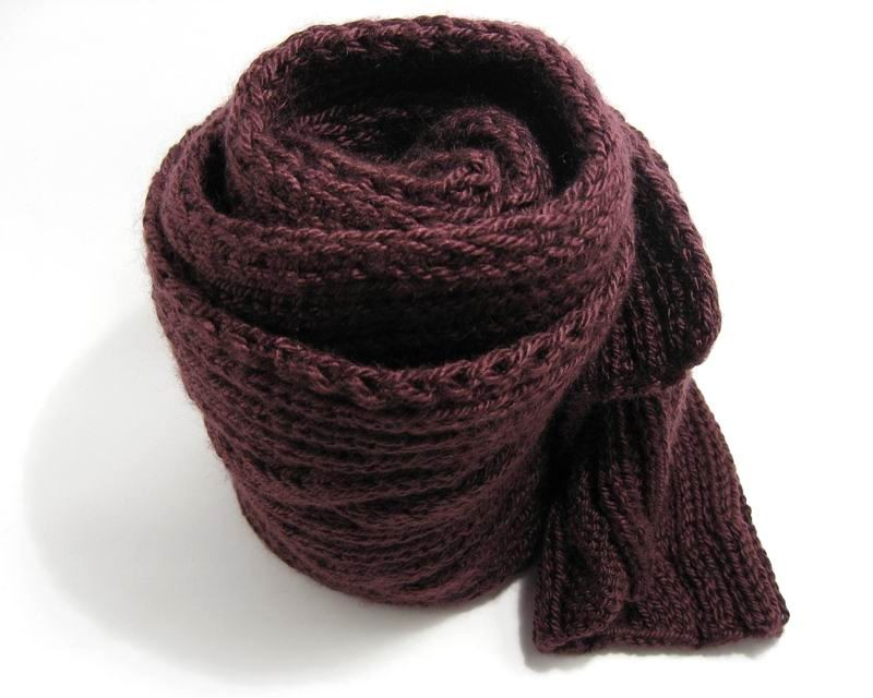 Color Dolls Aran Scarf - Hand Knitted with Mulberry Shetland Wool