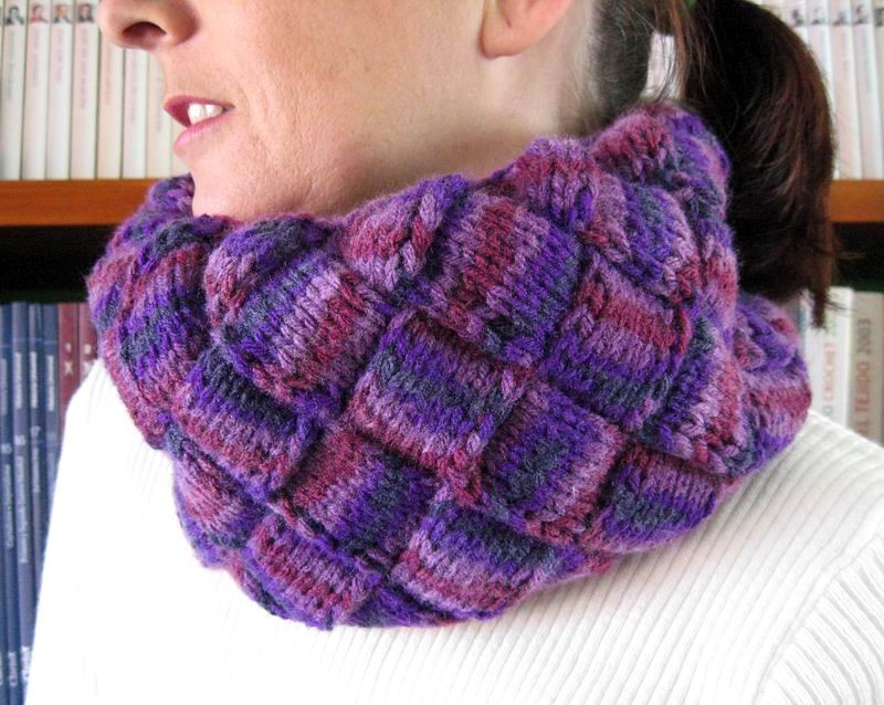 Entrelac Cowl - Hand Knitted with Variegated Purple Acrylic Wool