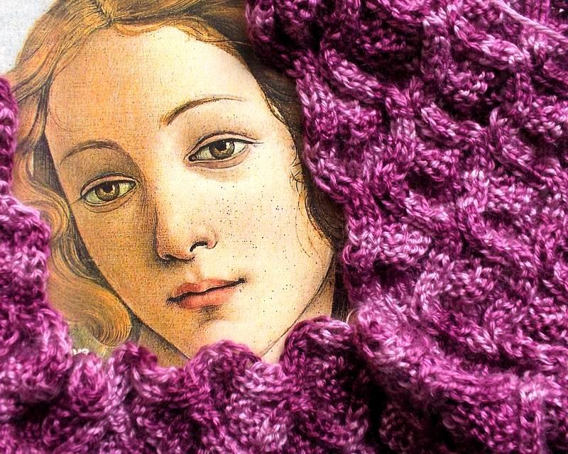 Lace Scarf - Hand Knitted with Variegated Purple Shetland Wool