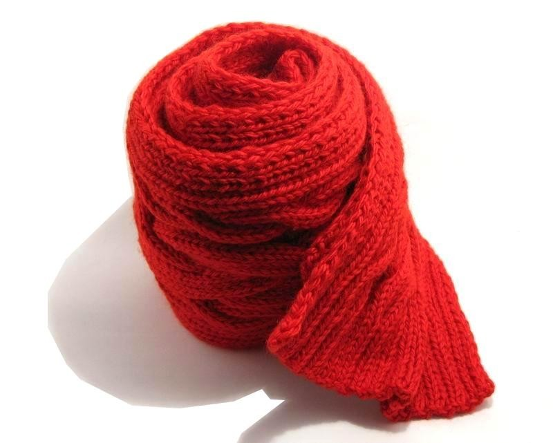 Aran Scarf - Hand Knitted with Red Merino Wool