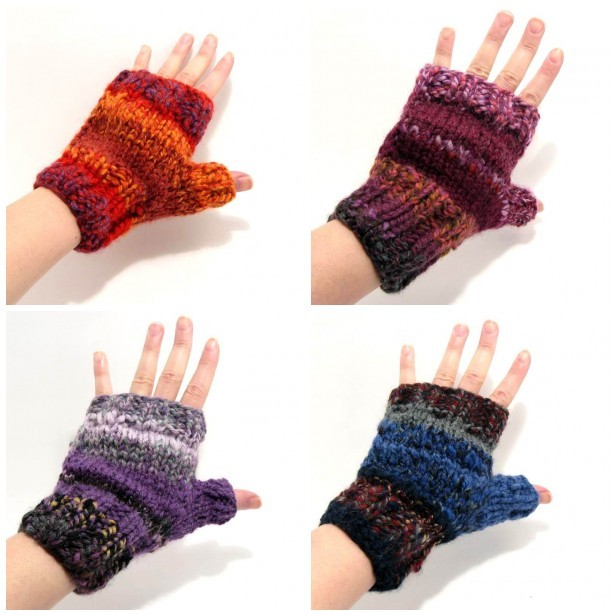 4 Pairs of Happy Fingerless Gloves - Multicolor Novelty Yarn