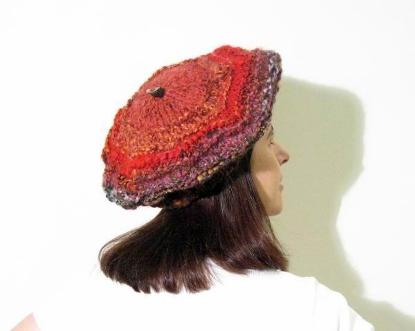 Happy Beret - One of a Kind - Hand Knitted with Novelty Yarn
