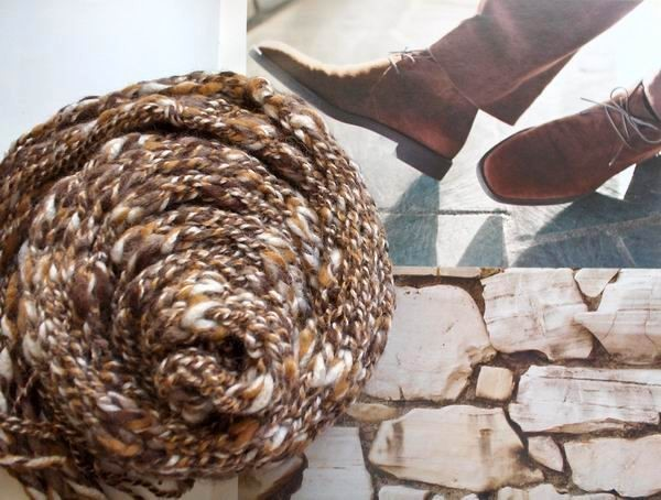 Scarf - Hand Knitted with Marled Brown Novelty Yarn