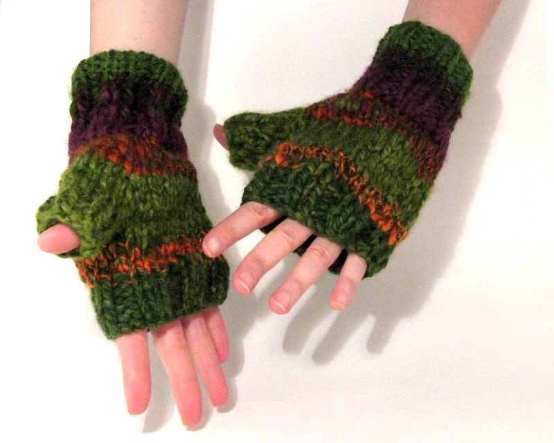 Happy Fingerless Gloves - Multicolor Novelty Yarn