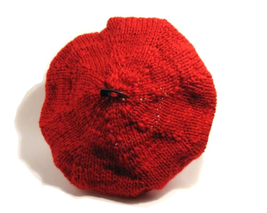 Tam - Hand Knitted with Red Novelty Yarn