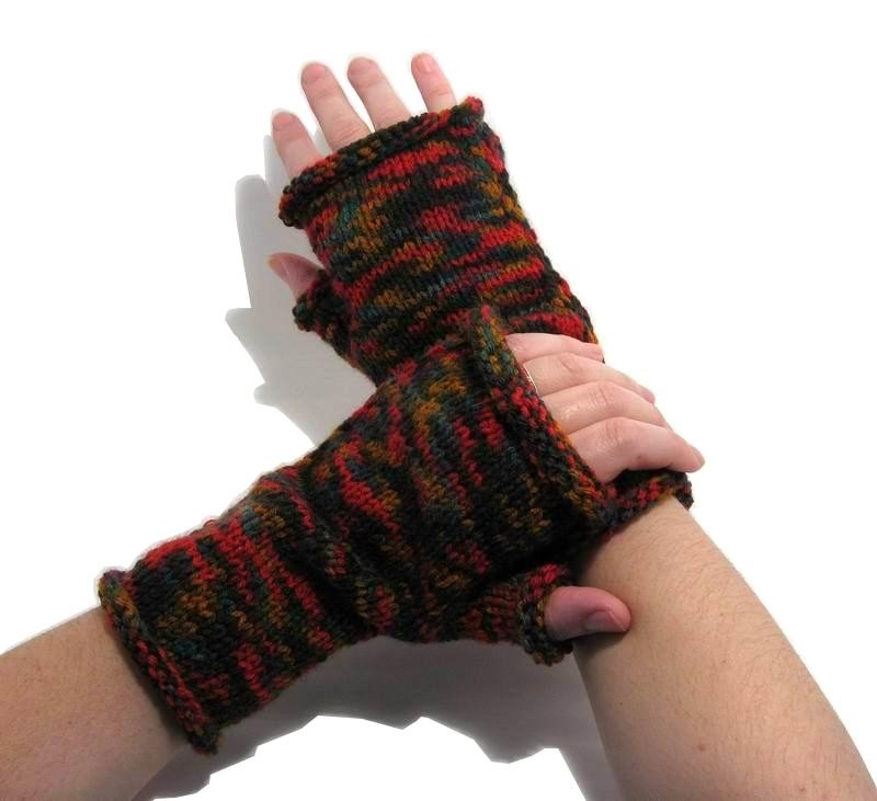 Fingerless Gloves - Hand Knitted with Variegated Multicolor Acrylic Wool