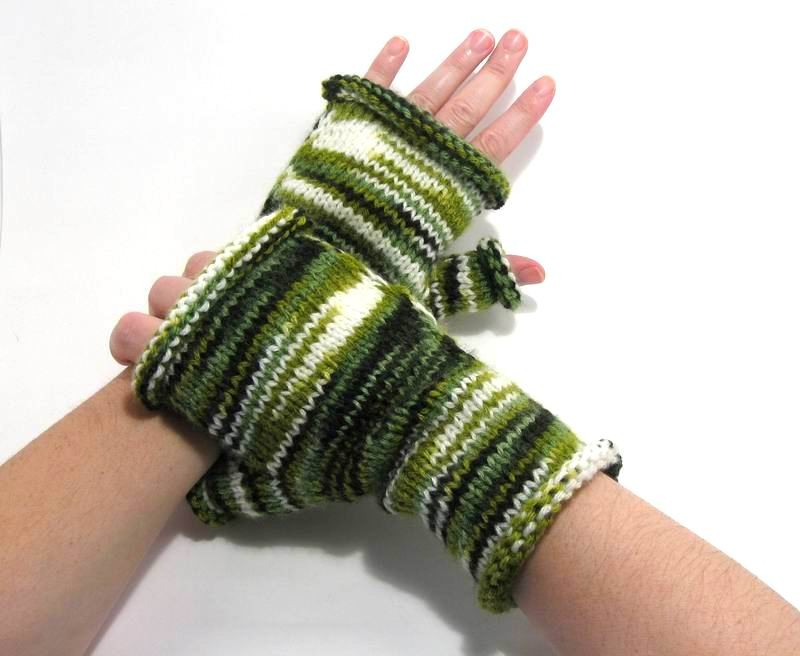 Fingerless Gloves - Hand Knitted with Variegated Green Acrylic Wool