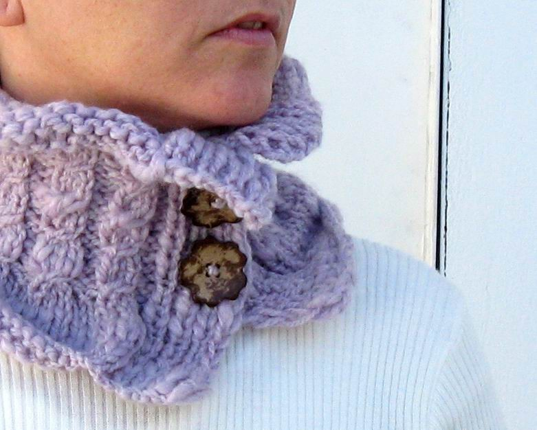 Cowl - Hand Knitted with Lavender Novelty Yarn