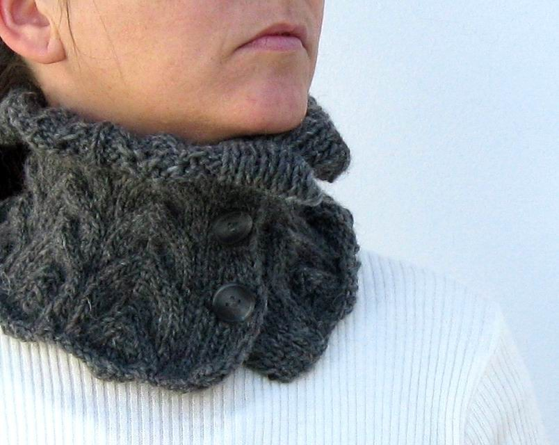 Cowl - Hand Knitted with Grey Merino Wool