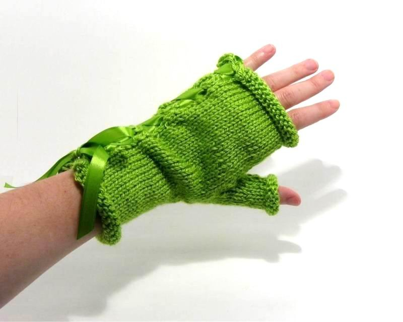 Fingerless Gloves - Hand Knitted with Lime Green Shetland Wool