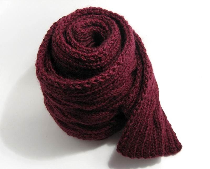 Aran Scarf - Hand Knitted with Burgundy Merino Wool